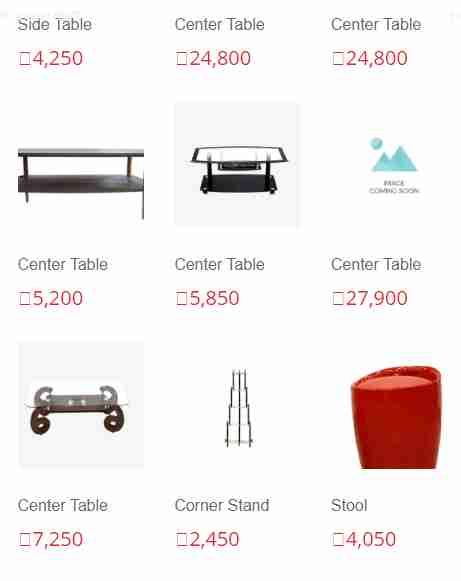 Furniture List with Price