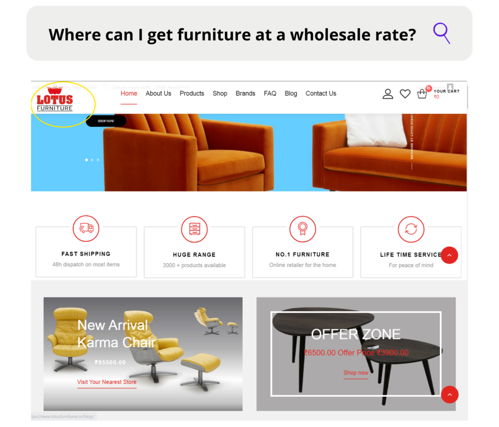 furniture at a wholesale rate